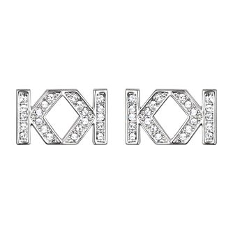 Karl Lagerfeld Swarovski Double K Rhodium Plated Earrings - Product number 2170078