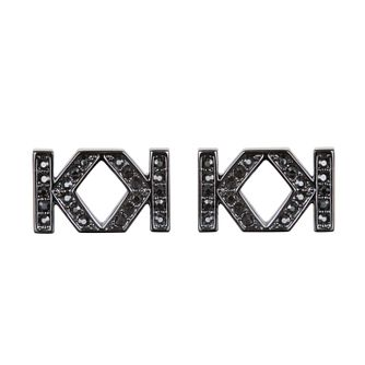 Karl Lagerfeld Swarovski Double K Gunmetal Plated Earrings - Product number 2170418