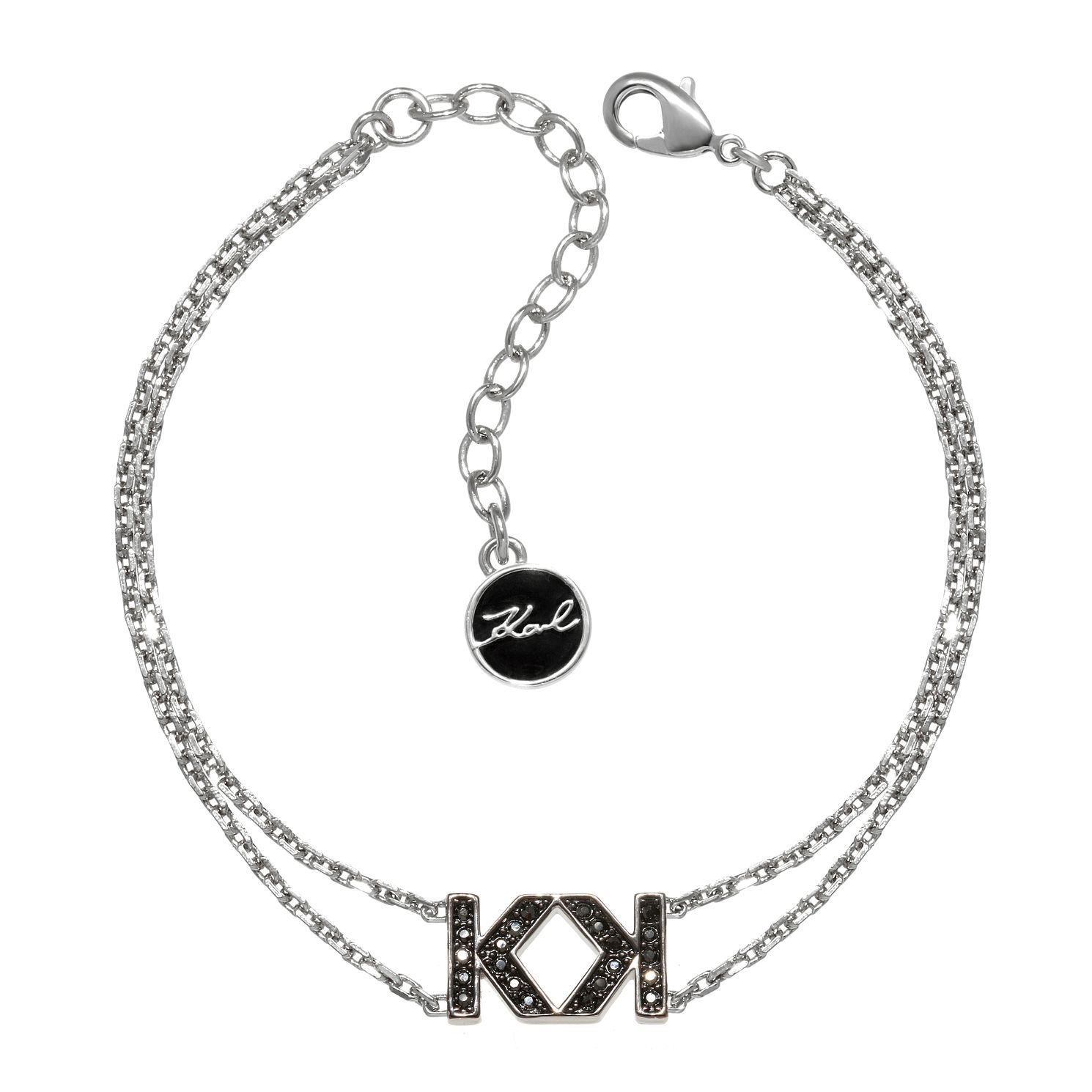 Karl Lagerfeld Swarovski Double K Rhodium Plated Bracelet - Product number 2170590