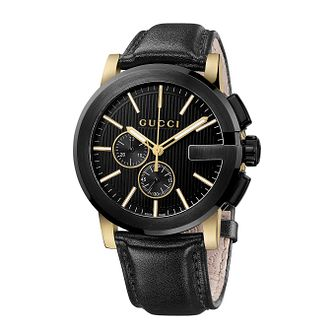 Gucci G Chrono men's black leather strap watch - Product number 2173794