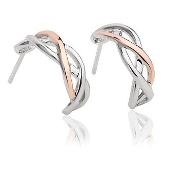 Clogau Eternal Love Silver & 9ct Rose Gold Weave Earrings - Product number 2174642