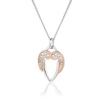 Clogau Silver, 9ct Rose Gold & White Topaz Dove Pendant - Product number 2175843