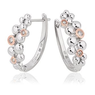 Clogau Celebration Silver & White Topaz Hinged Hoop Earrings - Product number 2176580