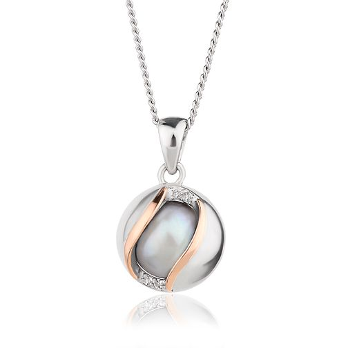 Clogau Silver & 9ct Rose Gold Grey Pearl & Topaz Pendant - Product number 2176998