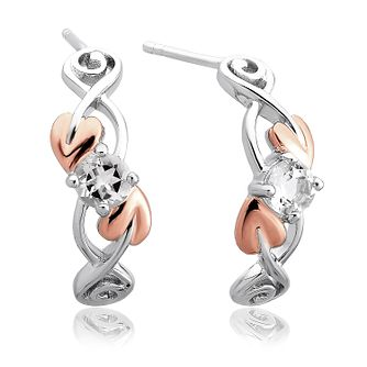 Clogau Tree Of Life Silver, Rose Gold & White Topaz Earrings - Product number 2177420