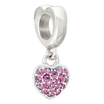 Chamilia Petite Heart Charm with Fuchsia Swarovski Crystal - Product number 2177536