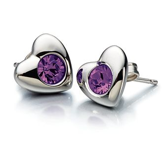 Chamilia Amethyst Swarovski Crystal Silver Heart Studs - Product number 2177897