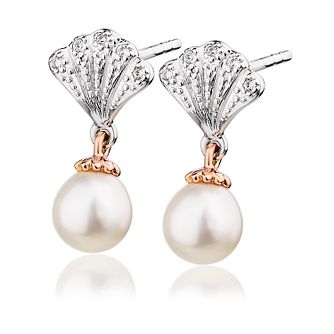 Clogau Silver & 9ct Rose Gold Windsor Pearl Stud Earrings - Product number 2178087