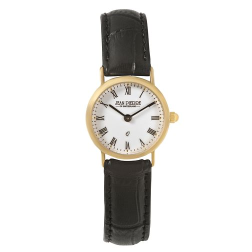 Jean Pierre Classique Ladies' 9ct Gold Black Strap Watch - Product number 2178613