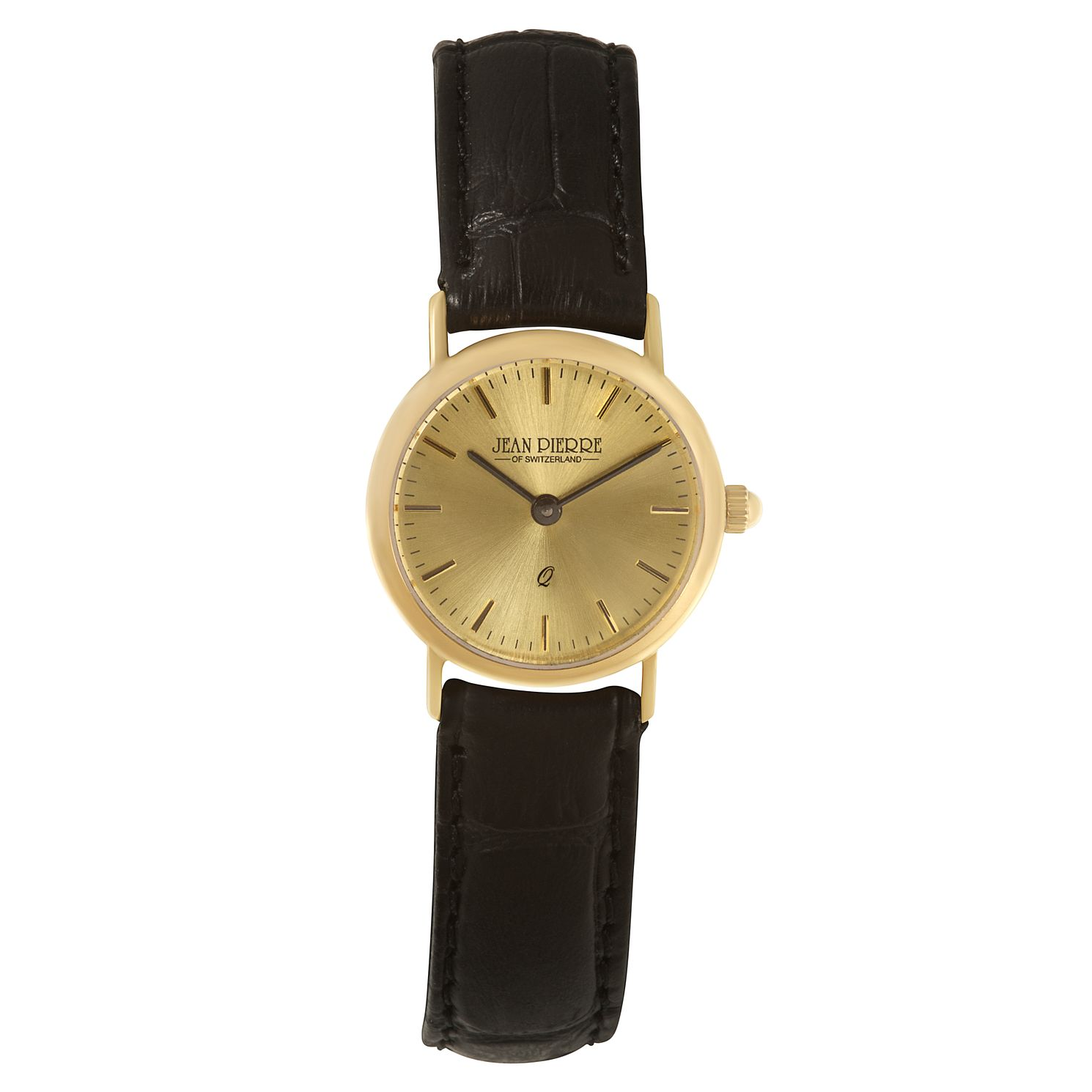 Jean Pierre Classique Ladies' 9ct Gold Black Strap Watch - Product number 2178621