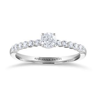 Adrianna Papell 14ct White Gold 1/2ct Diamond Solitaire Ring - Product number 2178648