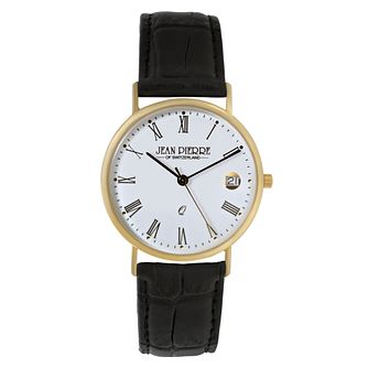 Jean Pierre Classique Men's 9ct Gold Black Strap Watch - Product number 2178656