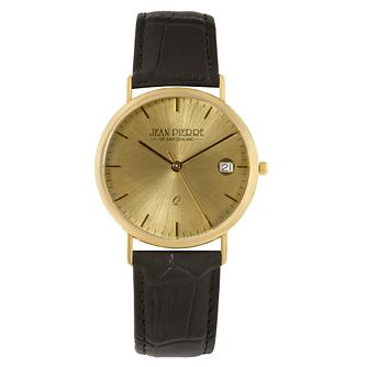 Jean Pierre Classique Men's 9ct Gold Black Strap Watch - Product number 2178664