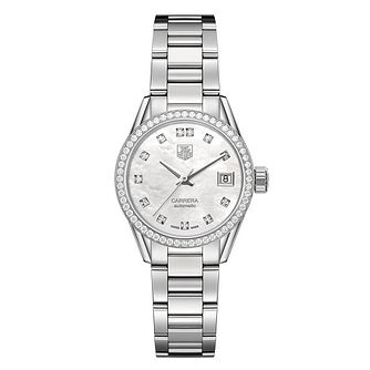 TAG Heuer Carrera Diamond Stainless Steel Bracelet Watch - Product number 2179709