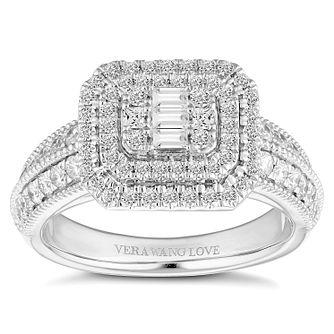Vera Wang 18ct Platinum 0.95ct Cluster Ring - Product number 2182858