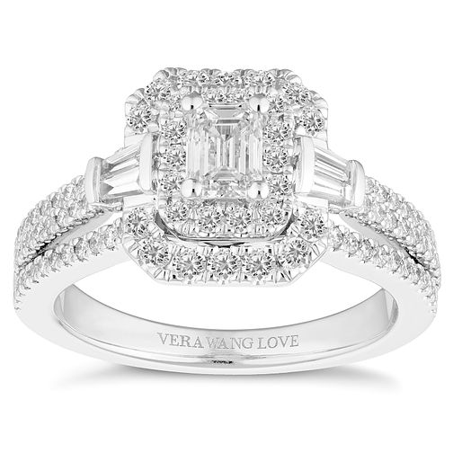 Vera Wang 18ct Platinum 1.18ct Emerald Cut Engagement Ring - Product number 2183471