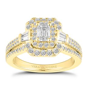 Vera Wang 18ct Gold 1.18ct Emerald Cut Engagement Ring - Product number 2183897