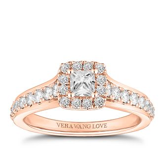 Vera Wang 18ct Rose Gold 0.70ct Princess Cut Halo Ring - Product number 2184044