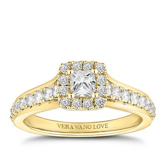 Vera Wang 18ct Gold 0.70ct Princess Cut Halo Ring - Product number 2184389