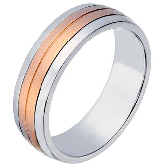 Men's Silver & Rose Gold 6mm Matt & Polished Wedding Ring - Product number 2189801