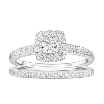 Tolkowsky Platinum 3/4ct Diamond Halo Bridal Set - Product number 2190842