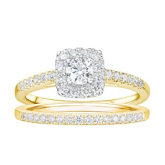 Tolkowsky 18ct Yellow Gold 3/4ct Diamond Halo Bridal Set - Product number 2190982