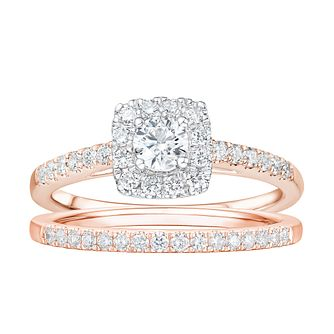Tolkowsky 18ct Rose Gold 3/4ct Diamond Halo Bridal Set - Product number 2191105