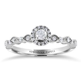 Adrianna Papell 14ct White Gold 1/4ct Diamond Halo Ring - Product number 2191733