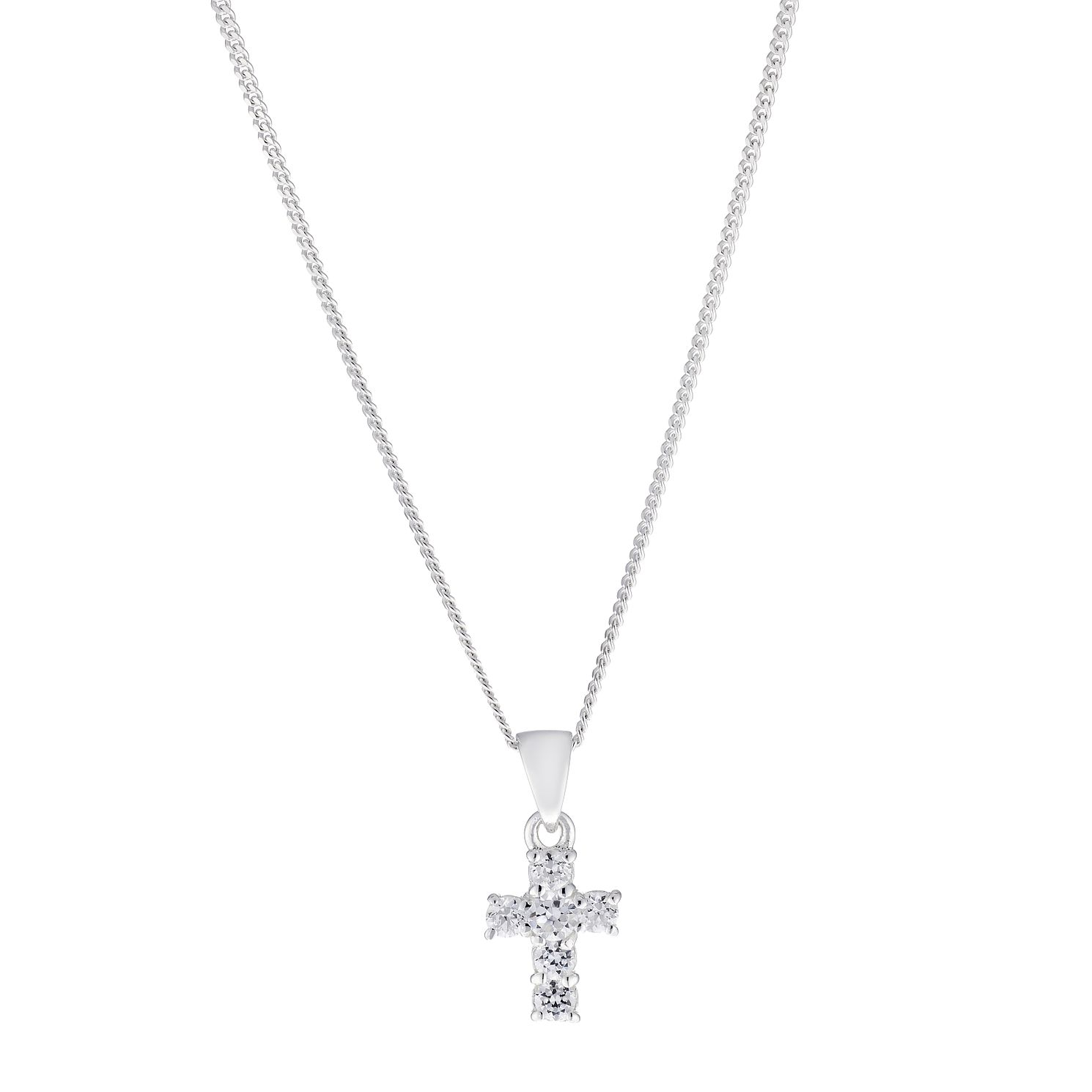 Children's Silver & Cubic Zirconia 14 inches Cross Pendant - Product number 2192292