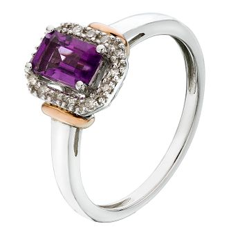 Silver & 9ct Rose Gold Amethyst & Diamond Ring - Product number 2194678