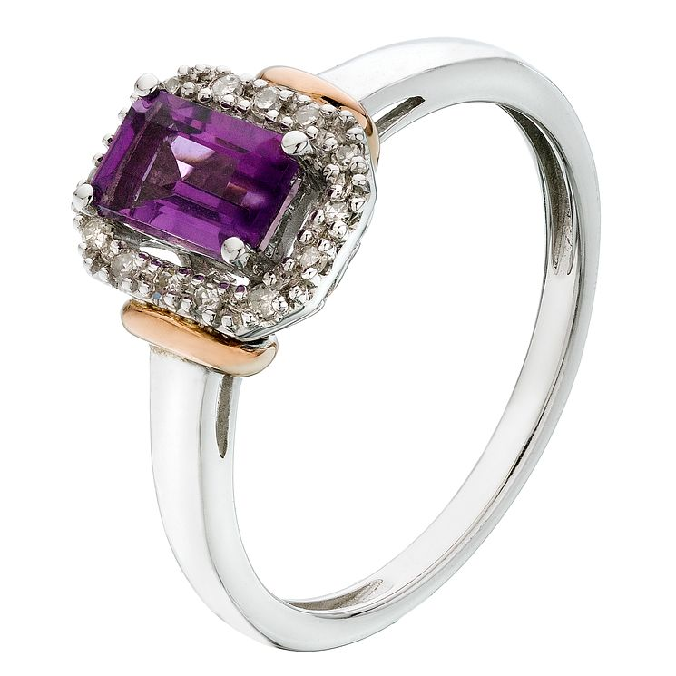 Silver & 9ct Rose Gold Diamond & Amethyst Ring