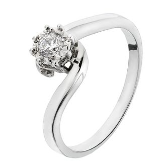9ct White Gold Diamond Illusion Twist Solitaire Ring - Product number 2196778