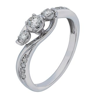 9ct White Gold 1/4 Carat Diamond Trilogy Ring - Product number 2200937