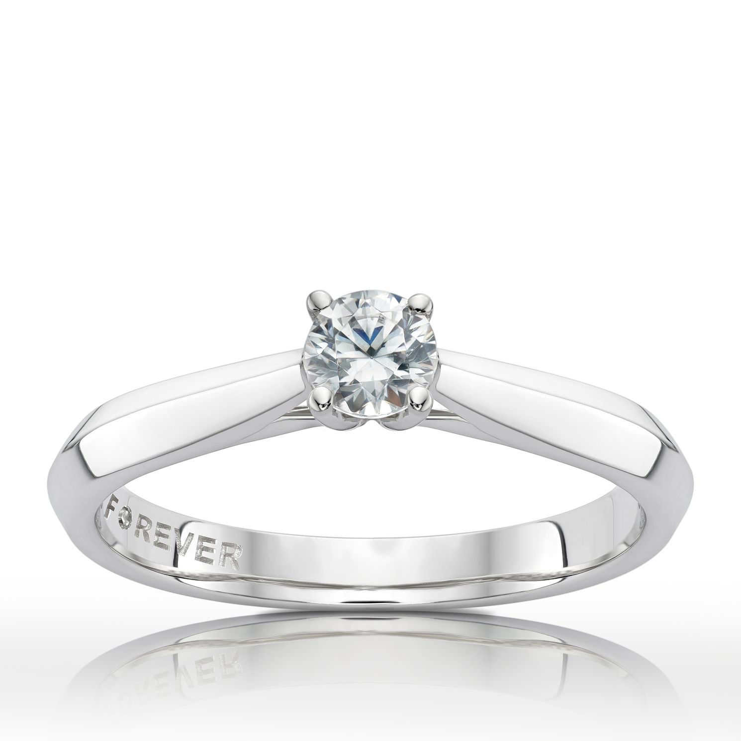 Platinum 1/4ct Forever Diamond Solitaire Ring - Product number 2207184