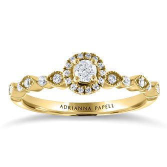Adrianna Papell 14ct Yellow Gold 1/4ct Diamond Halo Ring - Product number 2208717