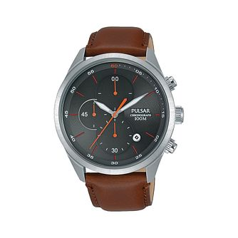 Pulsar Men's Chronograph Brown Leather Strap Watch - Product number 2209578