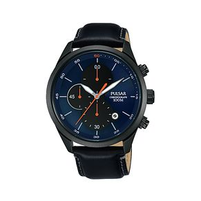 Pulsar Men's Chronograph Black Leather Strap Watch - Product number 2209586