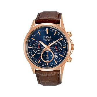 Pulsar Solar Men's Chronograph Brown Leather Strap Watch - Product number 2209683