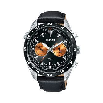 Pulsar Men's Black Leather Strap Watch - Product number 2209721