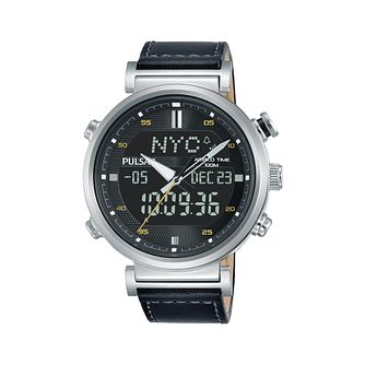 Pulsar Men's Multi-Function Black Leather Strap Watch - Product number 2209802