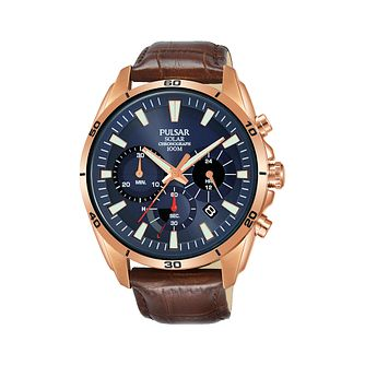 Pulsar Solar Men's Chronograph Brown Leather Strap Watch - Product number 2209845