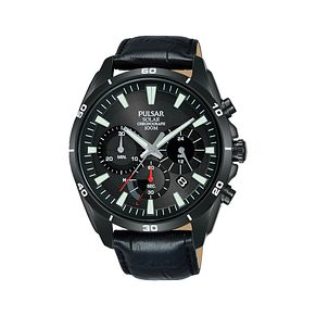Pulsar Solar Men's Chronograph Black Leather Strap Watch - Product number 2209853