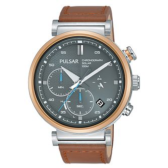 Pulsar Solar Men's Chronograph Tan Leather Strap Watch - Product number 2209888