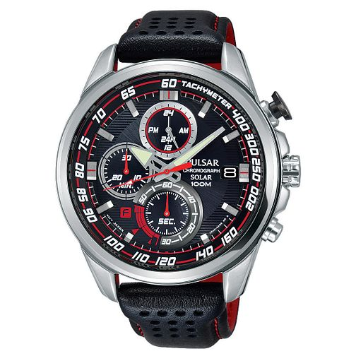 Pulsar Solar Men's Chronograph Black Leather Strap Watch - Product number 2209896