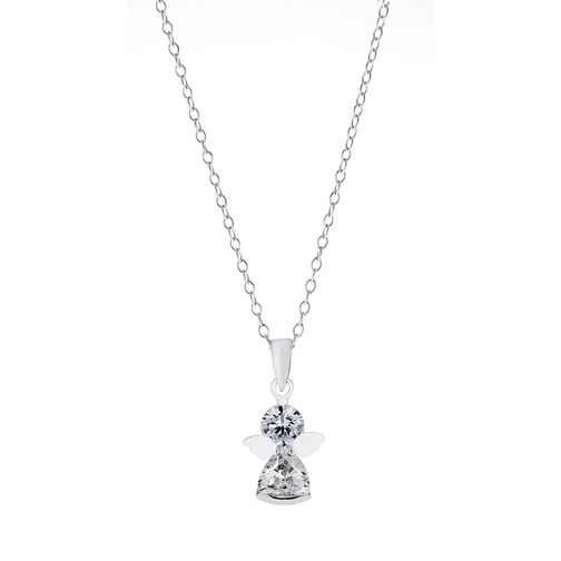Children's Sterling Silver and Cubic Zircona Angel Pendant - Product number 2210142