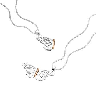 Clogau Gold Silver & 9ct Rose Gold Butterfly Pendant - Product number 2210207