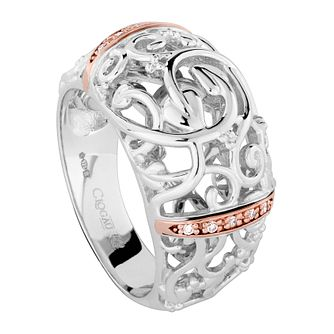 Clogau Am Byth silver & 9ct rose gold diamond ring size L - Product number 2211866