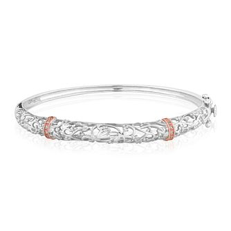 Clogau Am Byth silver & 9ct rose gold diamond bangle - Product number 2211890