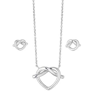 Sterling Silver Heart Knot Earring & Pendant Gift Set - Product number 2212161