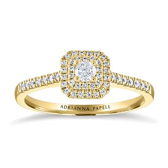 Adrianna Papell 14ct Yellow Gold 1/4ct Diamond Cushion Ring - Product number 2213923